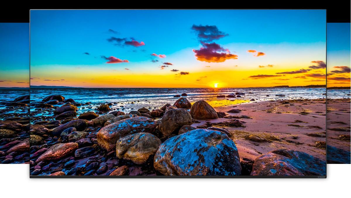 Телевизионен екран, показващ голяма природна гледка