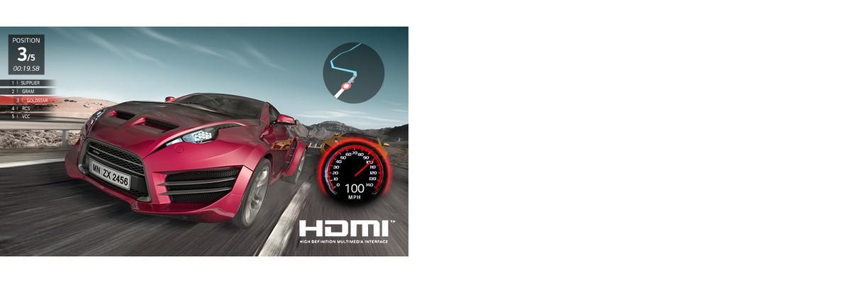 O scenă dintr-un joc cu curse de masini. Masina rosie este prezentată în prim-plan când se află pe a treia pozitie.