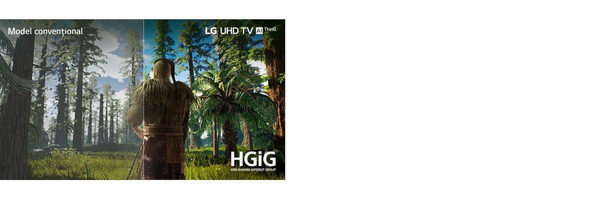 Ecranul TV prezintă o scenă dintr-un joc, cu un bărbat care stă în mijlocul unei păduri. O jumătate este afisată pe un ecran conventional, cu o calitate redusă a imaginii. Cealaltă jumătate este afisată pe un ecran de televizor UHD de la LG cu o calitate clară si vie a imaginii.