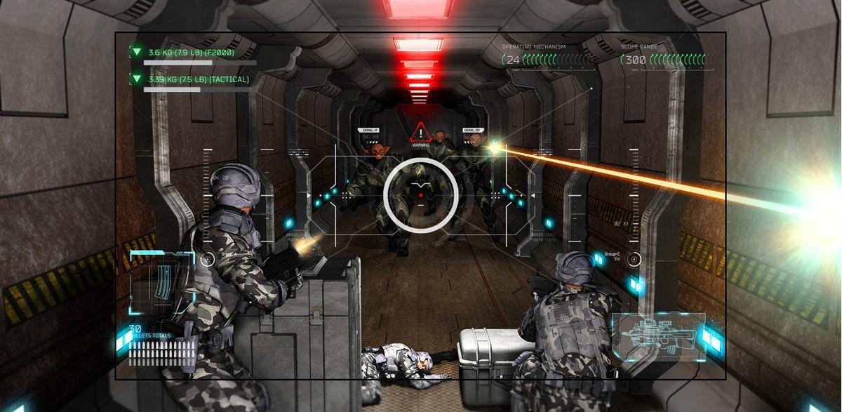 Televizor care prezintă o scenă dintr-un joc tip shooter, în care jucătorul este coplesit de extraterestri cu arme.