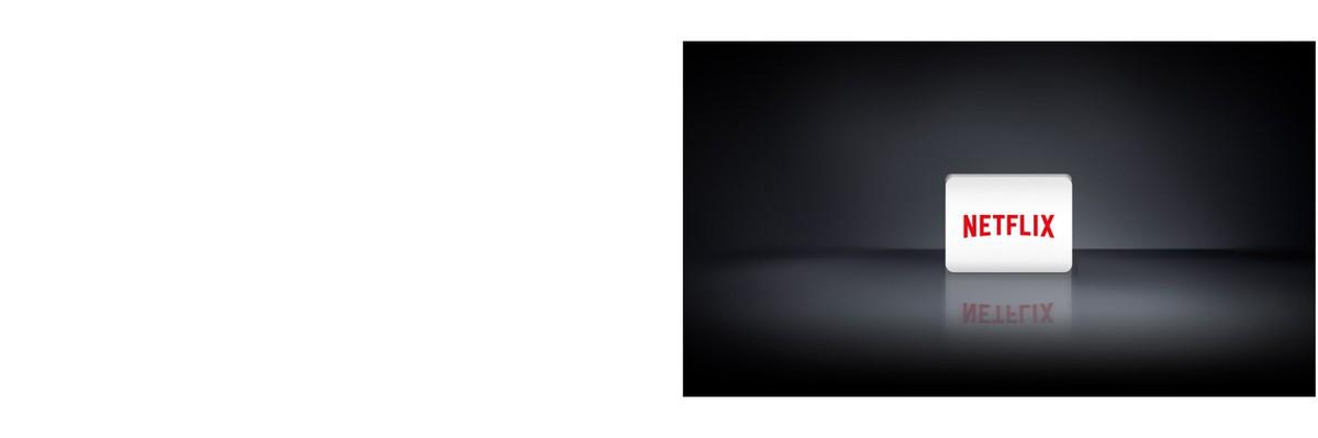 Trei sigle de aplicatii de la stânga la dreapta: Apple TV, Netflix si canalele LG