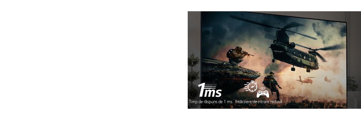 Un ecran al televizorului care afisează un joc de luptă, cu soldati înarmati si elicoptere survolând cerul.
