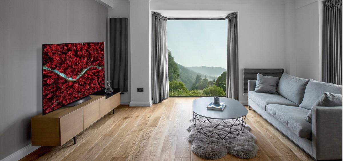 Cameră de zi cu o canapea si un televizor care prezintă o vedere aeriană a naturii